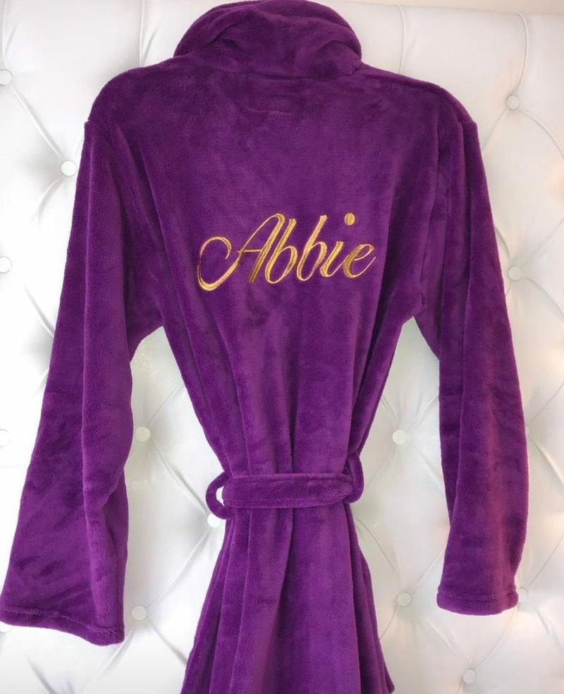 Ladies Personalised Soft Fleece Purple Dressing Gown