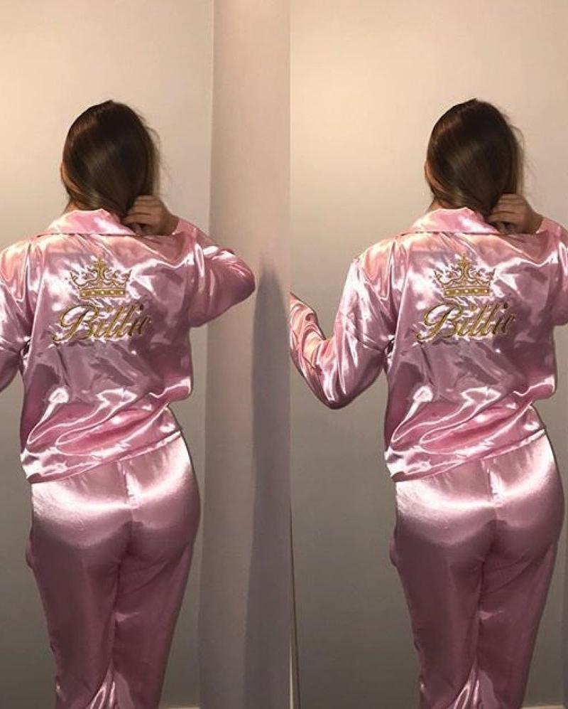 Baby Pink Satin Pyjamas