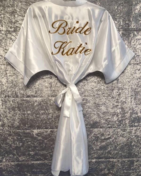 Ladies Satin Robe - White
