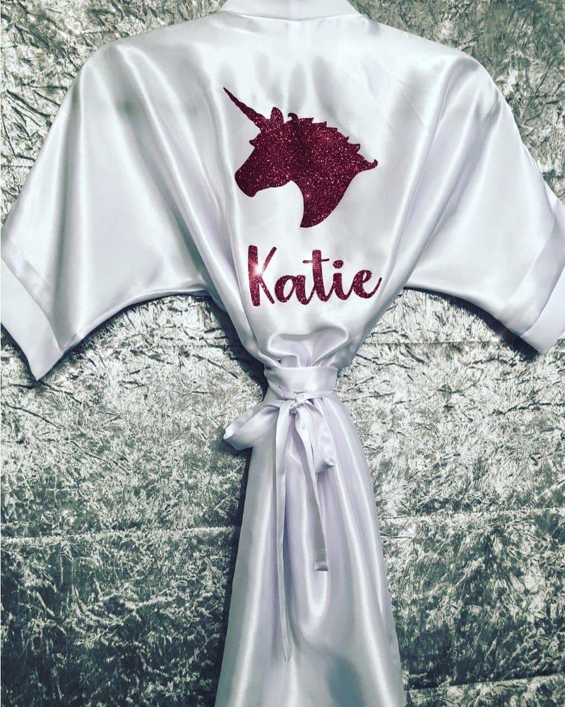 Ladies Glitter Unicorn Printed Satin Robe