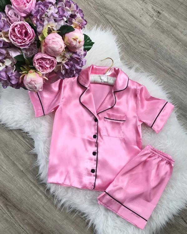Childrens Satin Short Sleeve Pjs with piping