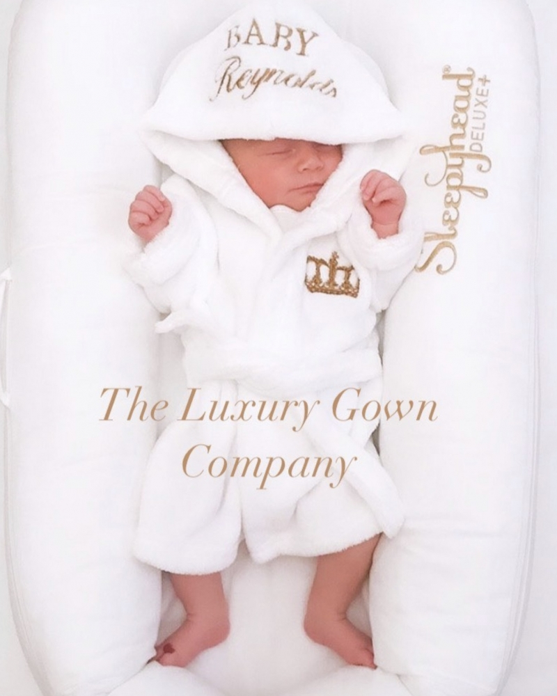 So soft baby dressing gown with personalised hood
