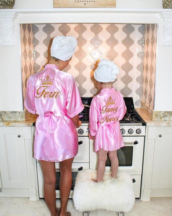 Ladies Satin Robe - Baby Pink