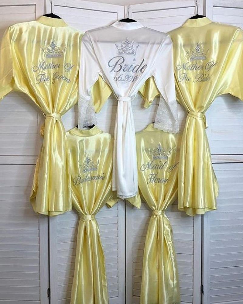 Ladies Satin Robe - Lemon