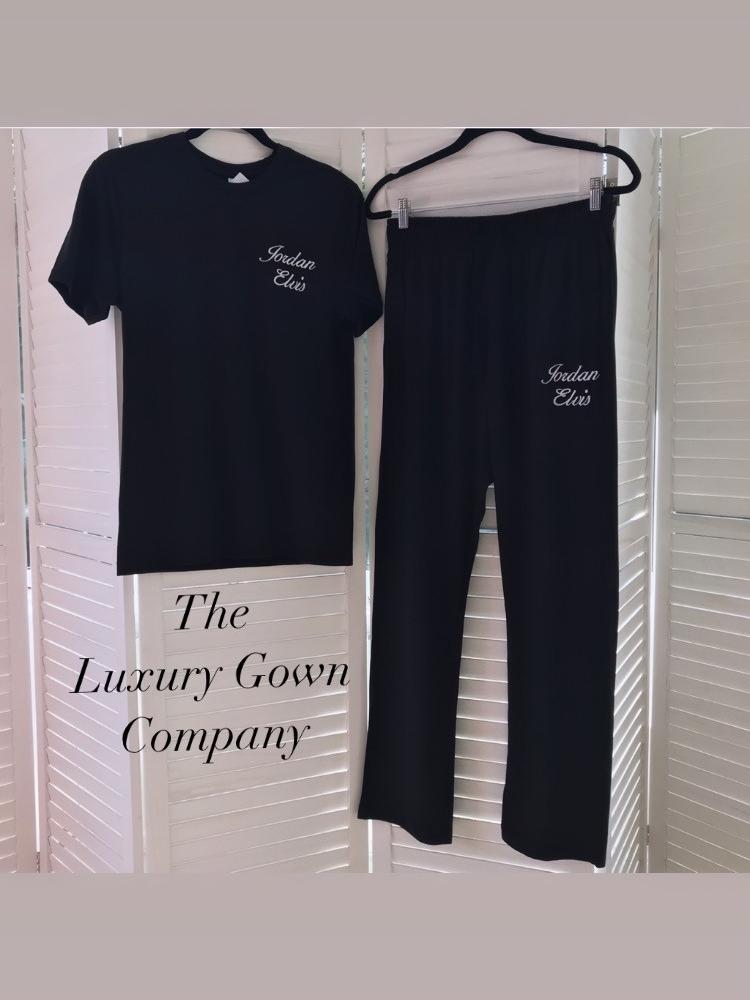 Mens personalised cotton pyjama lounge pants