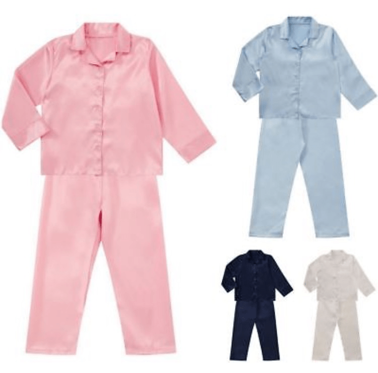Childrens Unisex Satin Long Sleeve Pyjamas Set
