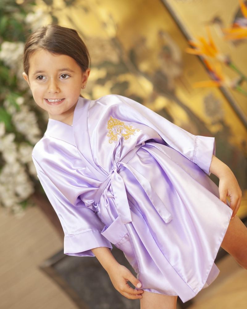 Childrens Personalised Satin Robe