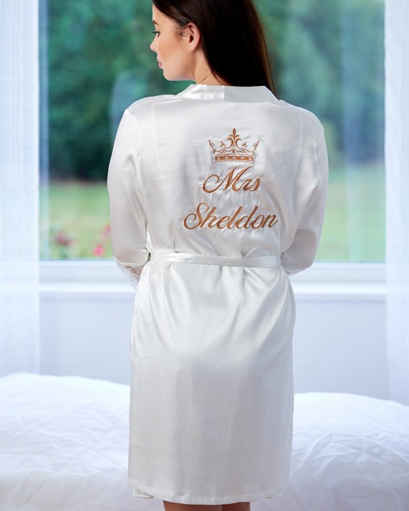 Ivory Satin & Lace Robe Matching Chemise Set