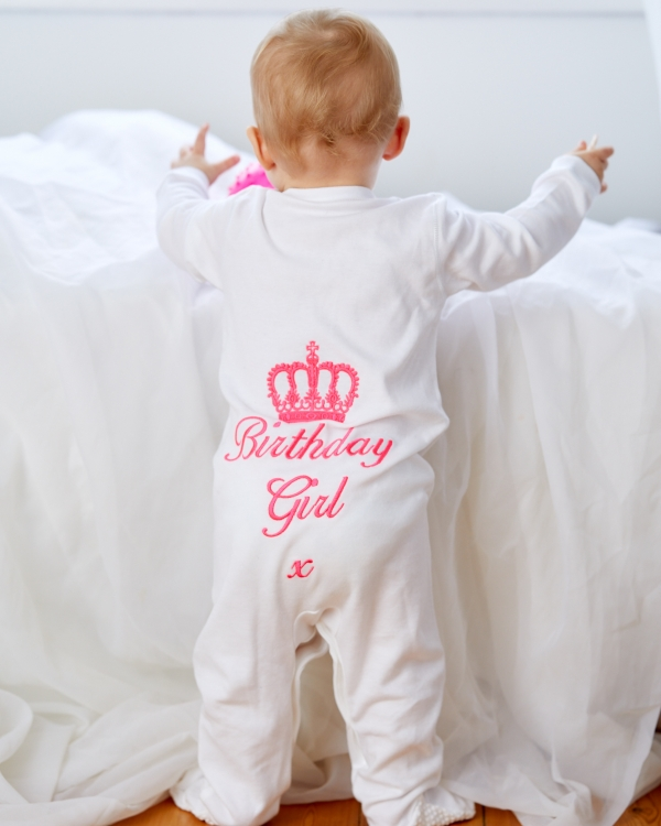 Long sleeve Button down Baby Sleepsuit with personalised back