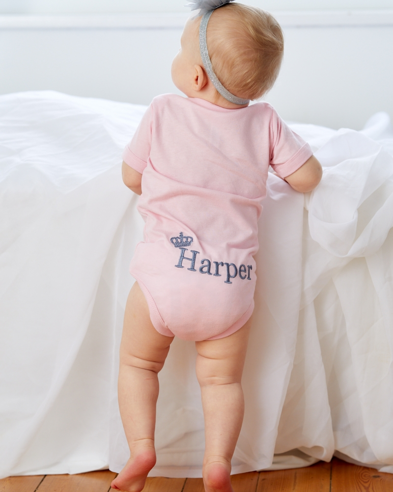 Short sleeve Bodysuit with personalised - Back embroidery