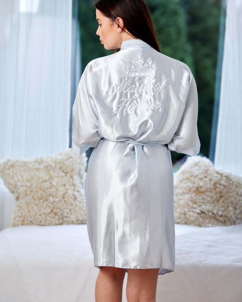 Ladies Satin Robe - Silver