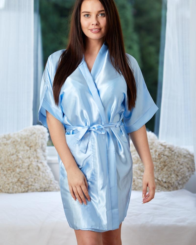 Ladies Satin Robe - Baby Blue
