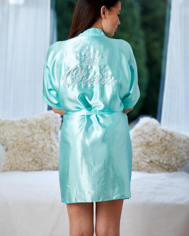 Ladies Satin Robe - Tiffany Green