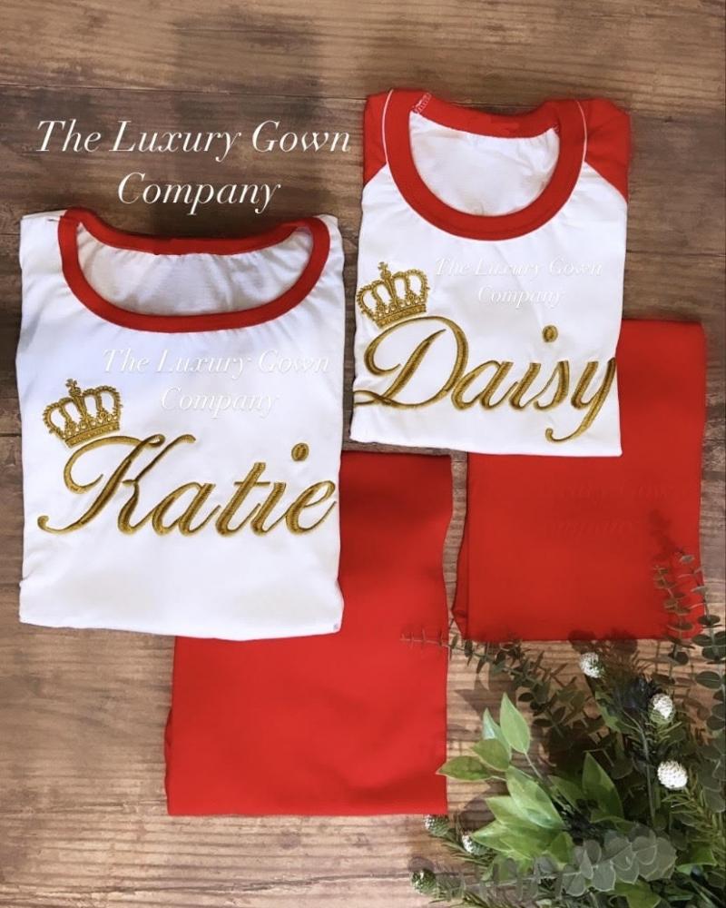 Personalised Ladies Jersey Cotton Long Sleeve Pyjama Set - Red