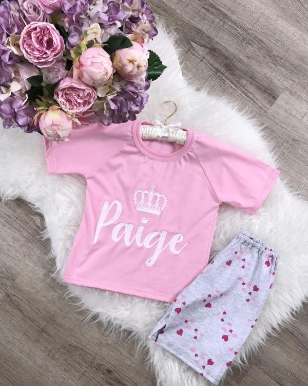 Personalised Girls Jersey Cotton Pyjama Set - Heart Print