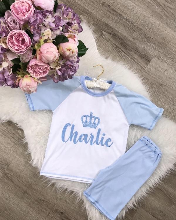 Personalised Boys Jersey Cotton Pyjama Set - Baby Blue