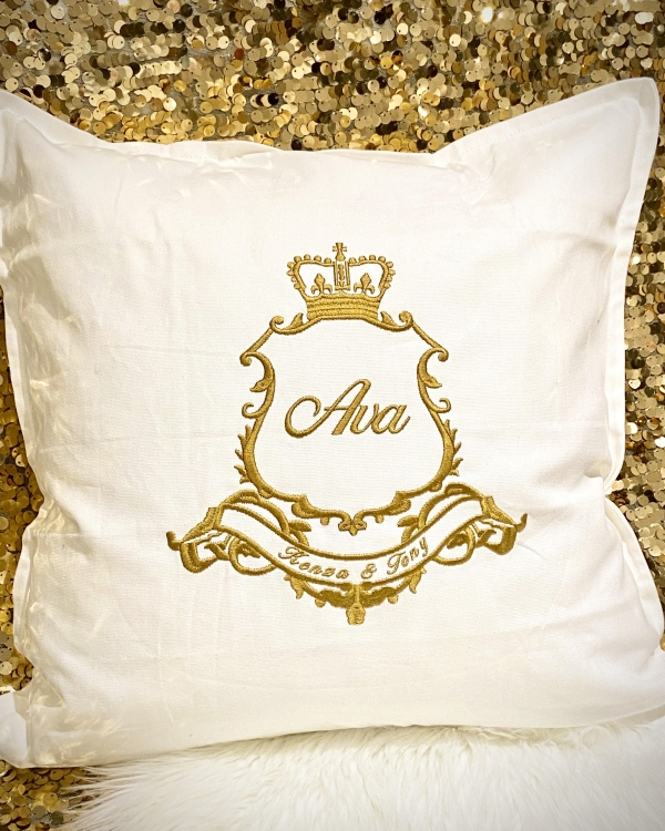 Luxury Embroidered Personalised Cushion