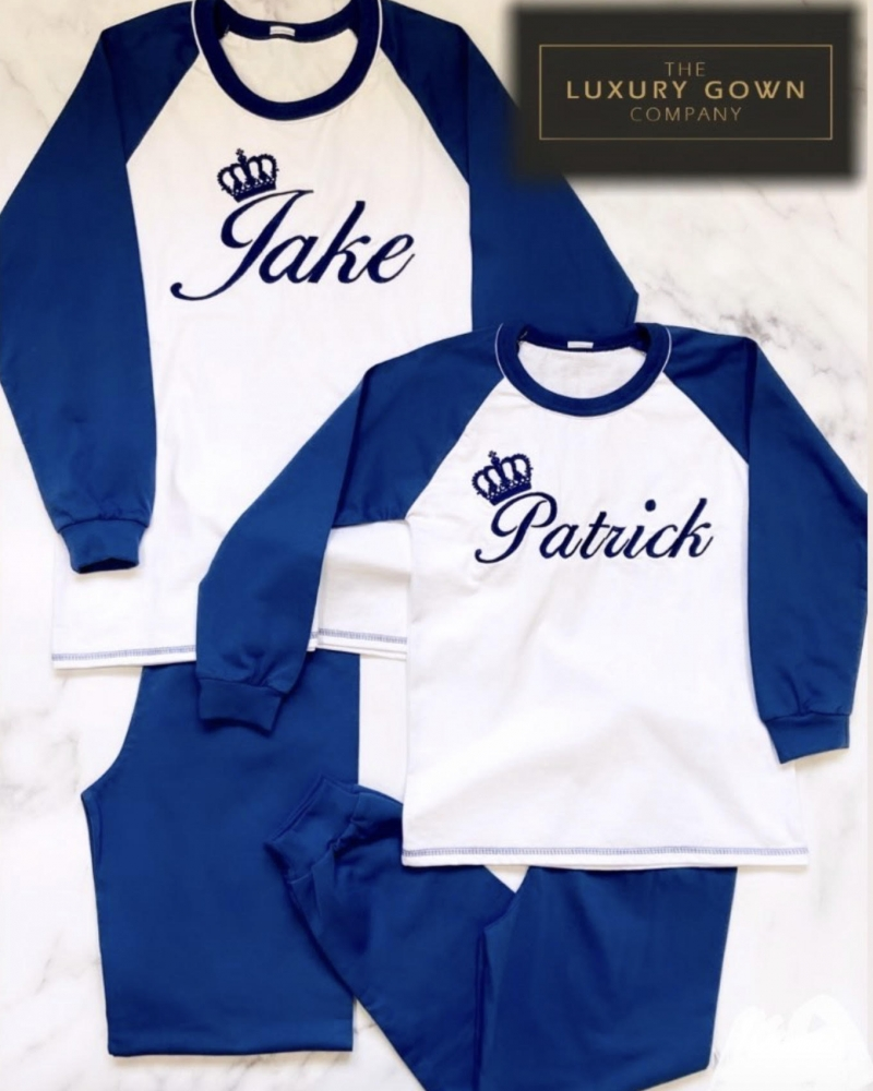 Personalised Kids Jersey Cotton Long Sleeve Pyjama Set - Navy