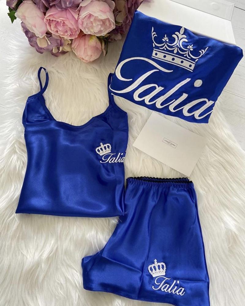 Ladies Satin Robe - Royal Blue