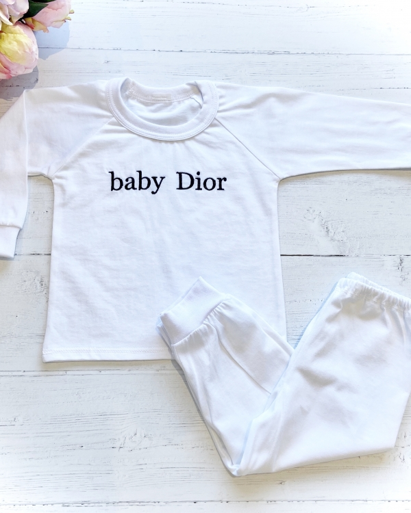 Personalised Kids Jersey Cotton Long Sleeve Pyjama Set - Plain White