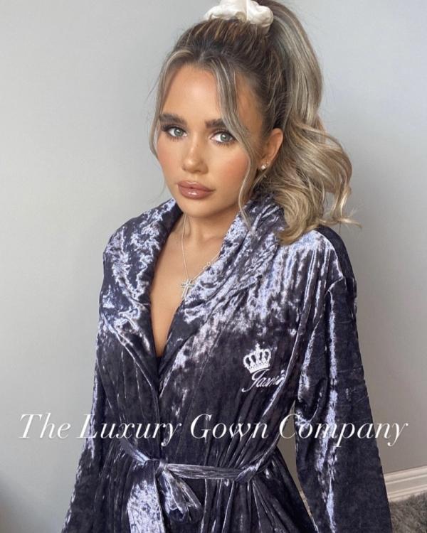 Ladies Luxury Grey Crushed Velvet Personalised Dressing Gown