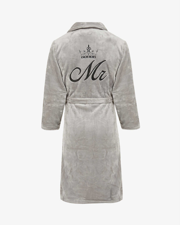 Mens Slim Fit Soft Fleece Personalised Dressing Gown - Silver Grey