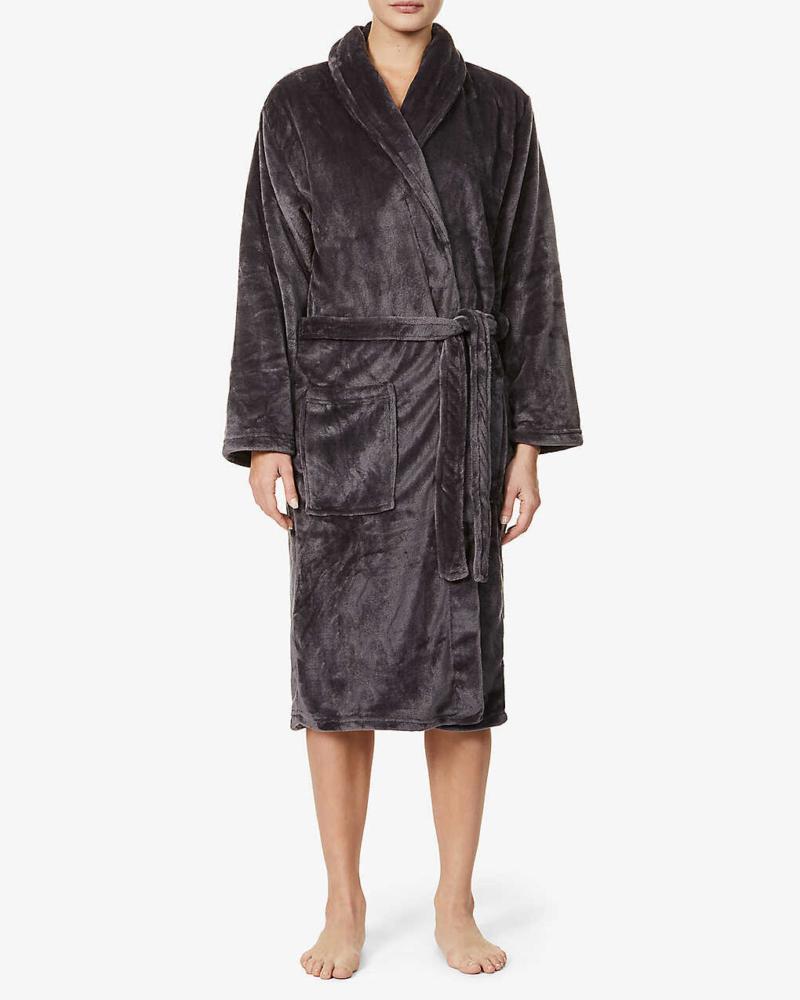 Ladies Personalised Soft Fleece Dressing Gown - Dark Grey