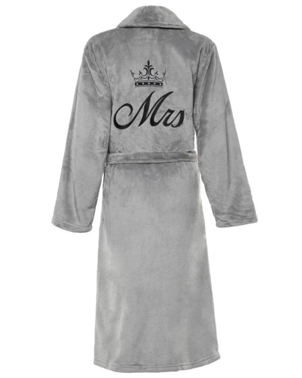 Ladies Personalised Soft Fleece Dressing Gown - Silver Grey