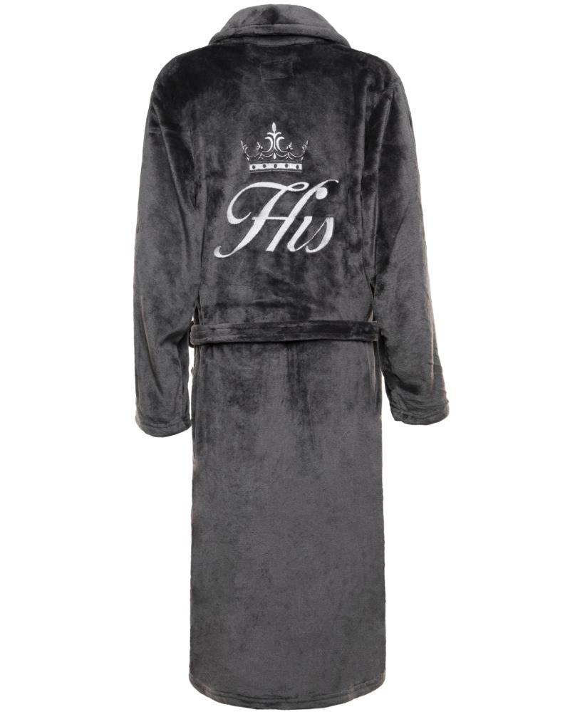 Mens Slim Fit Soft Fleece Personalised Dressing Gown - Dark Grey