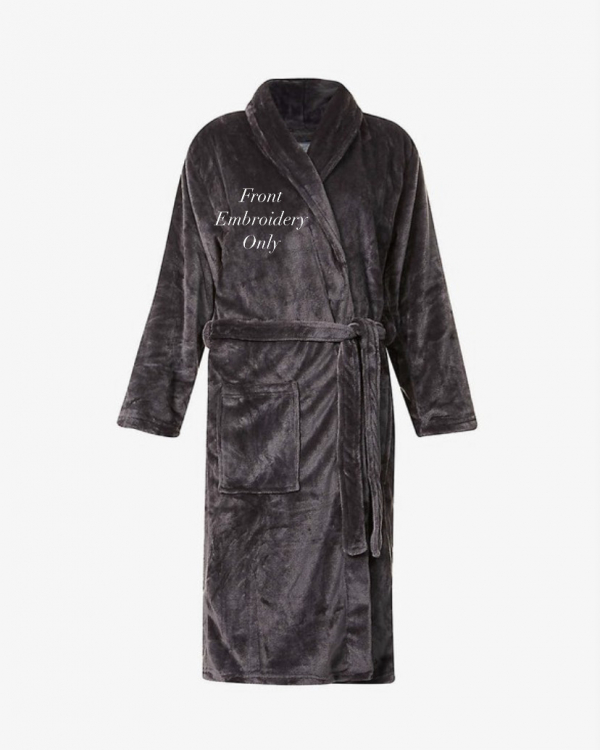 Mens Slim Fit Soft Fleece Personalised Dressing Gown - Front Only