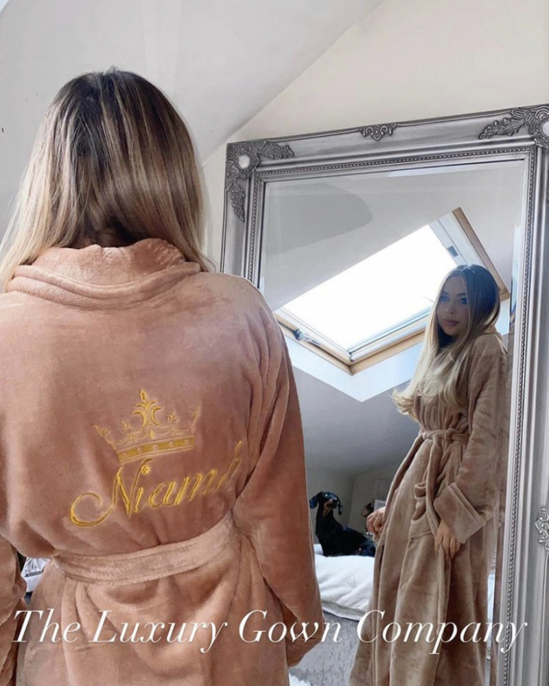 Ladies Personalised Soft Fleece Velour Dressing Gown - Cappuccino Gold