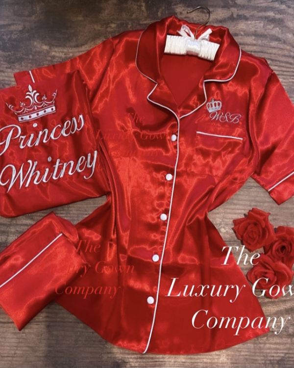 Ladies Satin Short Sleeve Pjs with piping