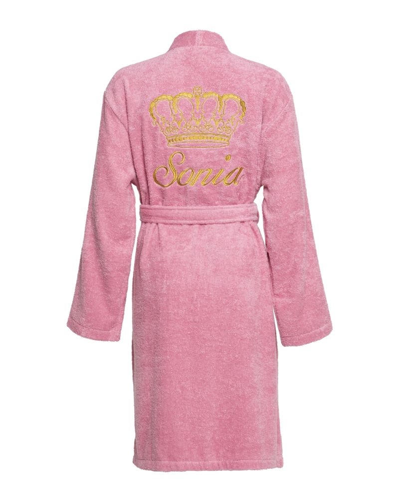 Strawberry Pink - 100% Cotton Personalised Bathrobe Dressing Gown