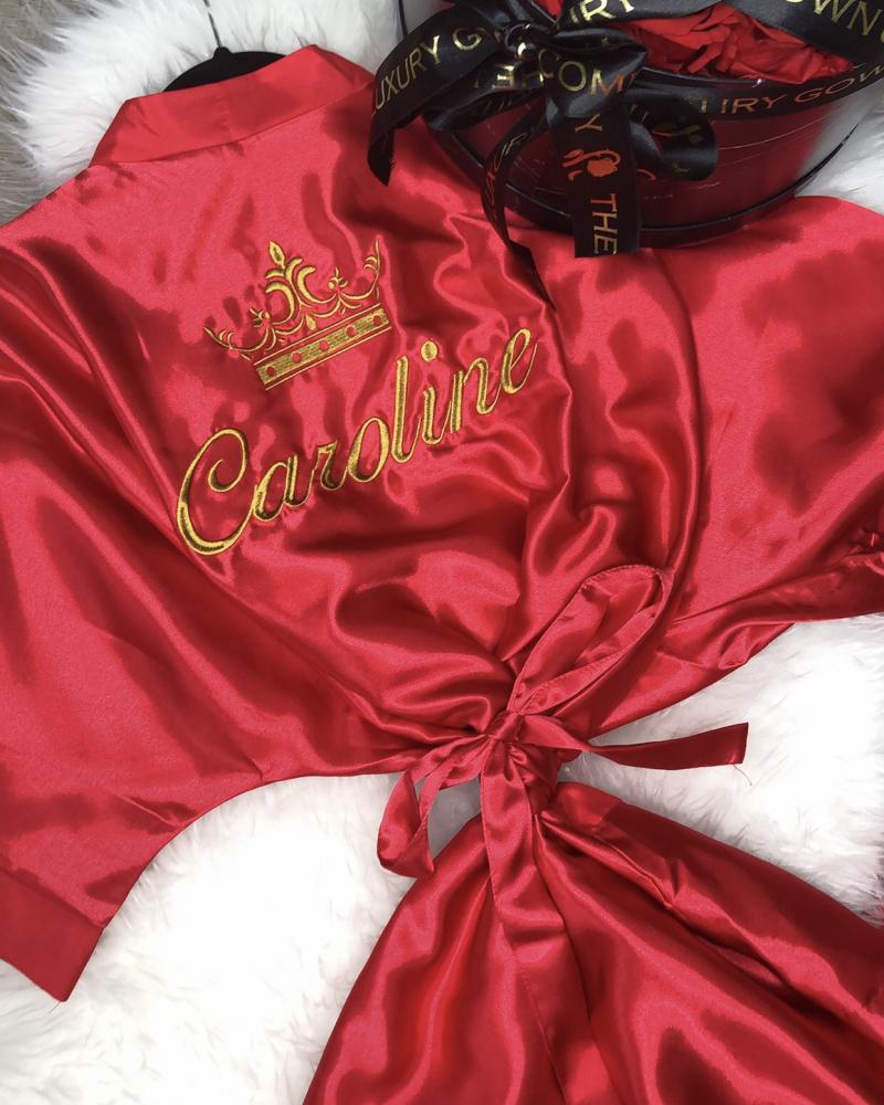 Ladies Satin Robe - Red