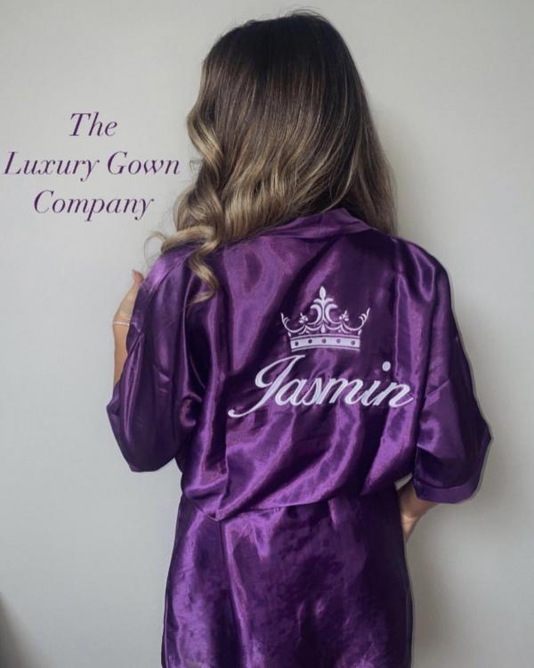 Purple Satin Personalised Robe
