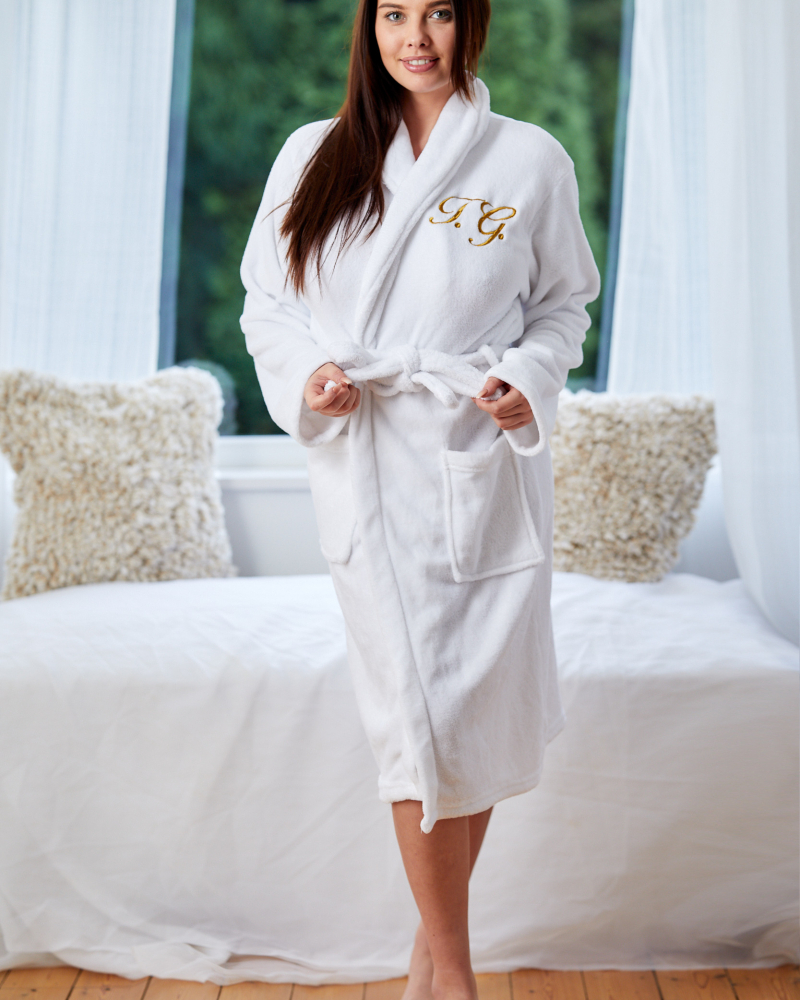 Ladies Personalised White Soft Fleece Dressing Gown - Front Only