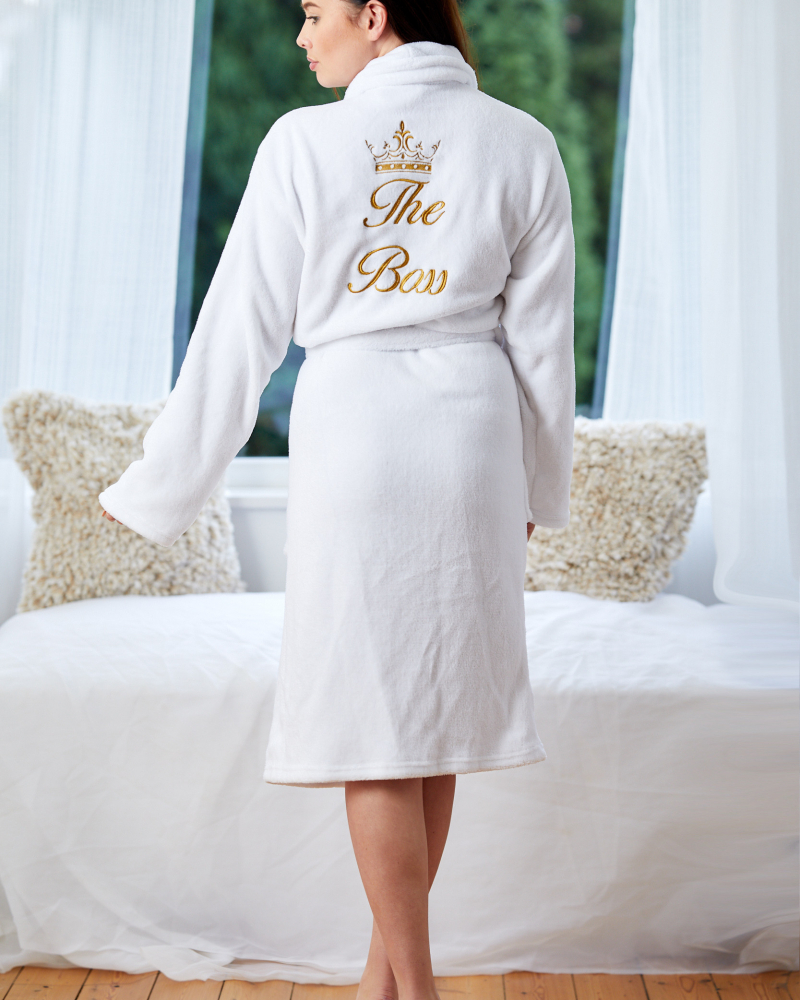 Ladies Personalised White Soft Fleece Dressing Gown - Back Only