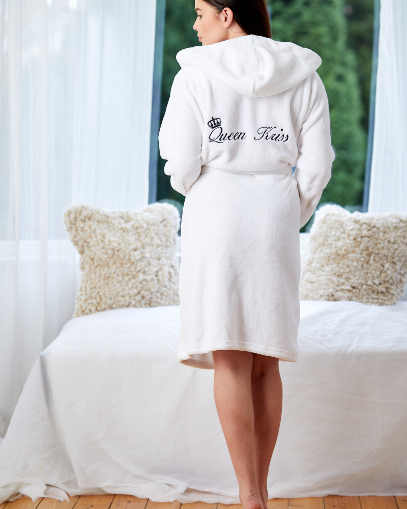 Ladies Personalised Hooded Fleece Dressing Gown - Back Only