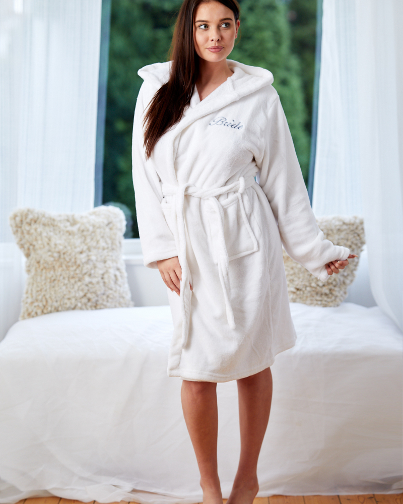 Ladies Personalised Hooded Fleece Dressing Gown - Front Only