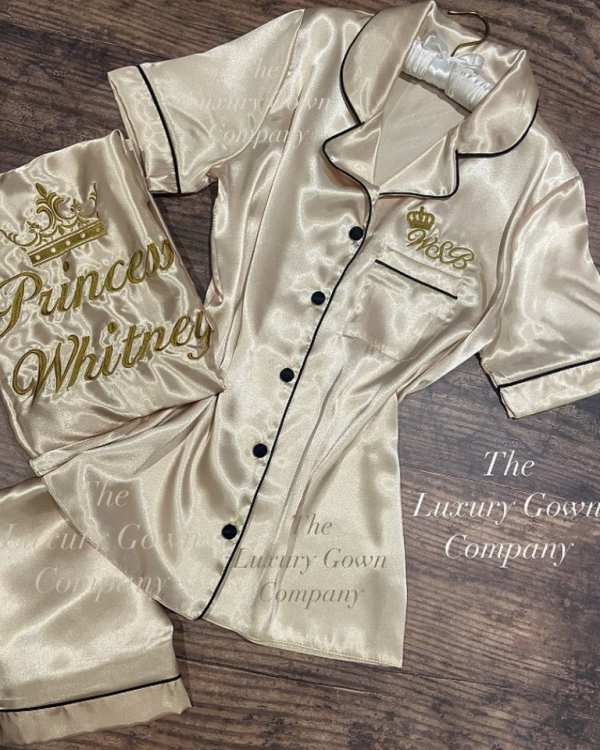 Ladies Satin Short Sleeve Pjs with piping - Champagne