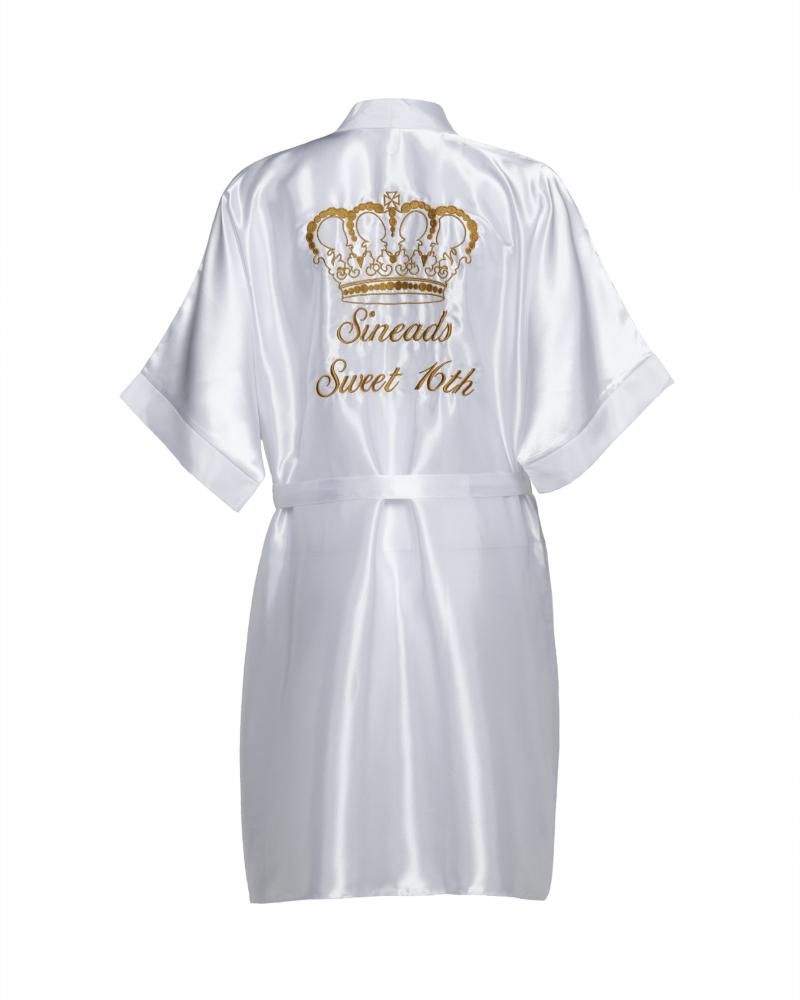 Ladies White Personalised Satin Robe