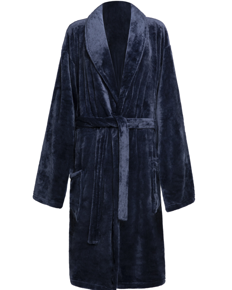 Mens Soft Fleece Personalised Navy Dressing Gown
